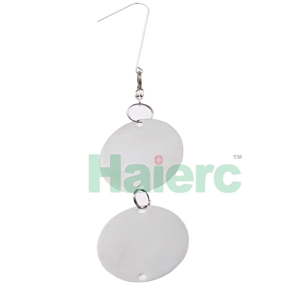 Haierc Stainless Reflective Owl Bird Scare Repellent Discs by Homescape Creations - Hanging Deterrent Device For Woodpeckers And Pigeons / 16 Steel Piece Set / 4 Bonus Bells